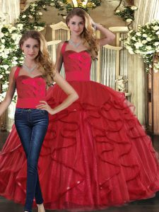 Excellent Red Two Pieces Ruffles 15th Birthday Dress Lace Up Tulle Sleeveless Floor Length