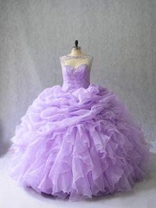 Simple Ball Gowns Sleeveless Lavender Quinceanera Dresses Brush Train Lace Up