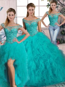 Sumptuous Aqua Blue Off The Shoulder Lace Up Beading and Ruffles Sweet 16 Dresses Brush Train Sleeveless