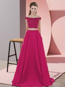 Top Selling Hot Pink Backless Evening Wear Beading Sleeveless Sweep Train