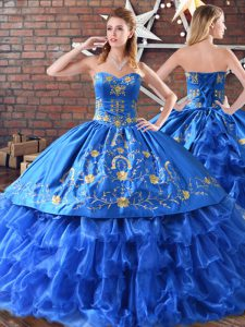 Blue Ball Gowns Sleeveless Satin and Organza Floor Length Embroidery 15 Quinceanera Dress