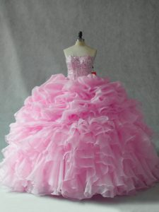 Strapless Sleeveless Brush Train Lace Up Ball Gown Prom Dress Baby Pink Organza
