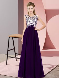 High Class Sleeveless Chiffon Floor Length Zipper Quinceanera Dama Dress in Purple with Beading and Appliques