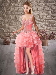 Watermelon Red Straps Neckline Beading and Ruffled Layers Homecoming Dress Sleeveless Lace Up