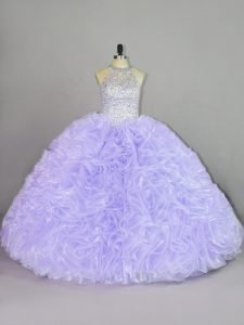 Ball Gowns Quinceanera Gown Lavender Halter Top Organza Sleeveless Lace Up