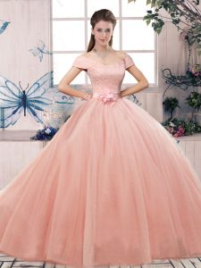 Artistic Pink Off The Shoulder Neckline Lace and Hand Made Flower Quince Ball Gowns Short Sleeves Lace Up