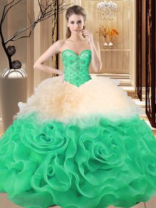 Nice Floor Length Multi-color Sweet 16 Dress Fabric With Rolling Flowers Sleeveless Beading and Ruffles