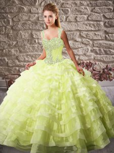 Pretty Sleeveless Court Train Beading and Ruffled Layers Lace Up Ball Gown Prom Dress