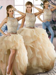 Floor Length Zipper Quinceanera Dress Champagne for Sweet 16 and Quinceanera with Beading and Ruffles