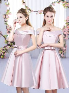Low Price Baby Pink Court Dresses for Sweet 16 Wedding Party with Bowknot Off The Shoulder Sleeveless Lace Up
