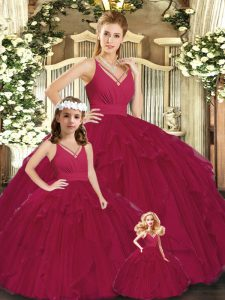Adorable Floor Length Burgundy Quinceanera Dresses V-neck Sleeveless Lace Up