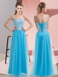 Unique Baby Blue Sweetheart Neckline Beading Prom Dress Sleeveless Lace Up