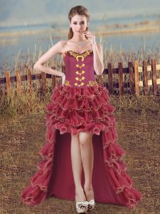 Sweet Burgundy Evening Wear Prom and Party and Military Ball with Embroidery and Ruffles Sweetheart Sleeveless Lace Up