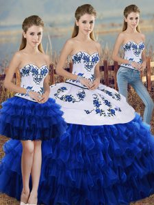 Royal Blue Three Pieces Embroidery and Ruffled Layers and Bowknot Quinceanera Gown Lace Up Organza Sleeveless Floor Length