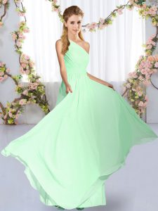 Top Selling Sleeveless Chiffon Floor Length Lace Up Dama Dress for Quinceanera in Apple Green with Ruching