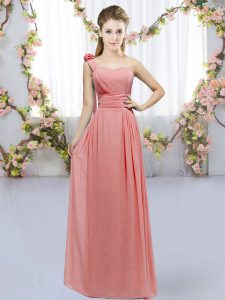 Exceptional Sleeveless Floor Length Hand Made Flower Lace Up Quinceanera Court of Honor Dress with Watermelon Red