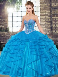 Most Popular Beading and Ruffles Vestidos de Quinceanera Blue Lace Up Sleeveless Floor Length