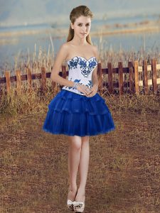 Royal Blue Sleeveless Mini Length Embroidery and Ruffled Layers Lace Up