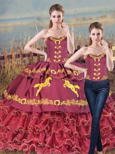 Customized Burgundy Two Pieces Satin and Organza Sweetheart Sleeveless Embroidery and Ruffles Lace Up Quinceanera Dress Brush Train