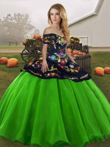New Arrival Green Sleeveless Tulle Lace Up Quinceanera Gown for Military Ball and Sweet 16 and Quinceanera