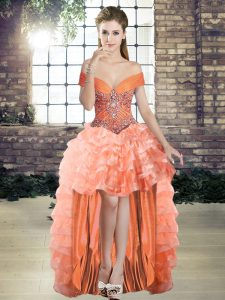 Fantastic Orange A-line Organza Off The Shoulder Sleeveless Beading and Ruffled Layers High Low Lace Up Evening Party Dresses