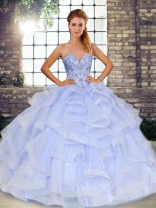 Captivating Lavender Lace Up Quinceanera Dress Beading and Ruffles Sleeveless Floor Length