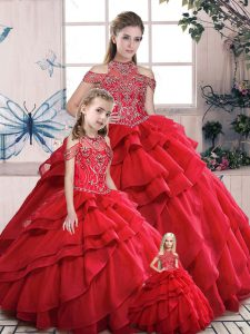 Red High-neck Lace Up Beading and Ruffles Sweet 16 Dresses Sleeveless