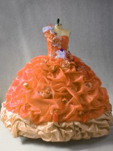 Rust Red Lace Up One Shoulder Beading and Pick Ups and Hand Made Flower Vestidos de Quinceanera Organza Sleeveless