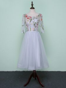 Simple Scoop Half Sleeves Tulle Dama Dress for Quinceanera Embroidery Lace Up