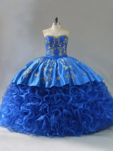 Exceptional Fabric With Rolling Flowers Sweetheart Sleeveless Lace Up Embroidery and Ruffles Quinceanera Gowns in Royal Blue