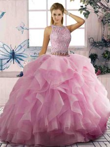 Chic Pink Tulle Zipper Scoop Sleeveless Floor Length Sweet 16 Dresses Beading and Ruffles