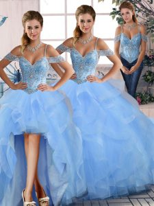 Floor Length Ball Gowns Sleeveless Blue Quinceanera Dress Lace Up