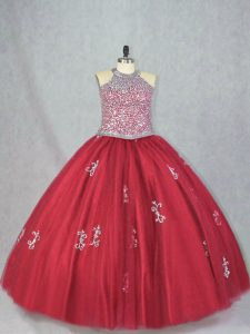 Custom Made Sleeveless Tulle Floor Length Lace Up Quinceanera Dresses in Red with Beading and Appliques