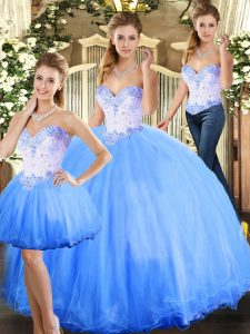 Vintage Blue Ball Gowns Tulle Sweetheart Sleeveless Beading Floor Length Lace Up Quinceanera Gown