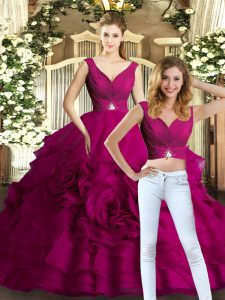 Fuchsia Organza Backless Quinceanera Gown Sleeveless Floor Length Beading and Ruffles