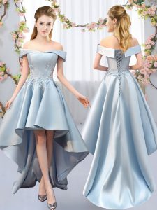 Light Blue A-line Satin Off The Shoulder Sleeveless Appliques High Low Lace Up Dama Dress