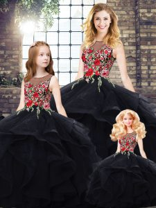 Beautiful Black Lace Up Vestidos de Quinceanera Beading and Embroidery Sleeveless Floor Length