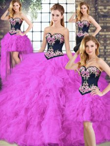 Fuchsia Sleeveless Floor Length Beading and Embroidery Lace Up Quinceanera Gown