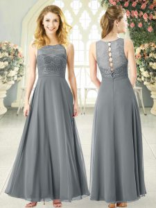 Colorful Grey Empire Chiffon Scoop Sleeveless Lace Ankle Length Clasp Handle Evening Dress