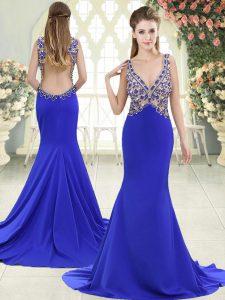 Custom Fit Sweep Train Mermaid Evening Dress Blue V-neck Elastic Woven Satin Sleeveless Backless