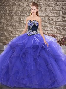 Nice Beading and Embroidery 15th Birthday Dress Purple Lace Up Sleeveless Floor Length