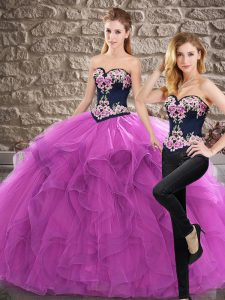 Ball Gowns Sleeveless Purple Quinceanera Dress Sweep Train Lace Up