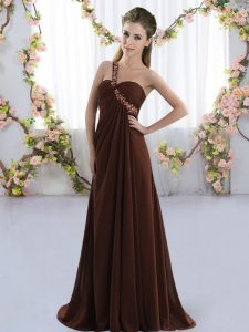 Brown One Shoulder Lace Up Beading Dama Dress for Quinceanera Brush Train Sleeveless