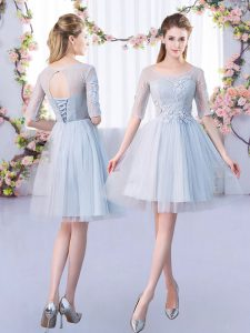 Fashion Mini Length A-line Half Sleeves Grey Quinceanera Dama Dress Lace Up