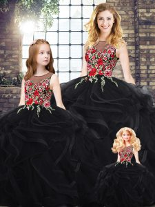 Dynamic Black Sleeveless Floor Length Embroidery and Ruffles Zipper Sweet 16 Dress