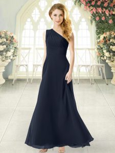 One Shoulder Sleeveless Prom Gown Ankle Length Ruching Black Chiffon