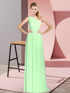 Empire Prom Party Dress One Shoulder Chiffon Sleeveless Floor Length Lace Up