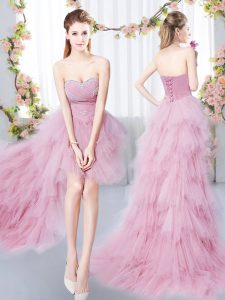 Stylish Sweetheart Sleeveless Damas Dress High Low Beading and Ruffles Pink Tulle