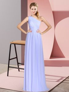 Sleeveless Floor Length Ruching Lace Up Prom Party Dress with Baby Blue