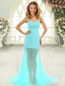 Pretty Beading Prom Dress Aqua Blue Zipper Sleeveless Brush Train